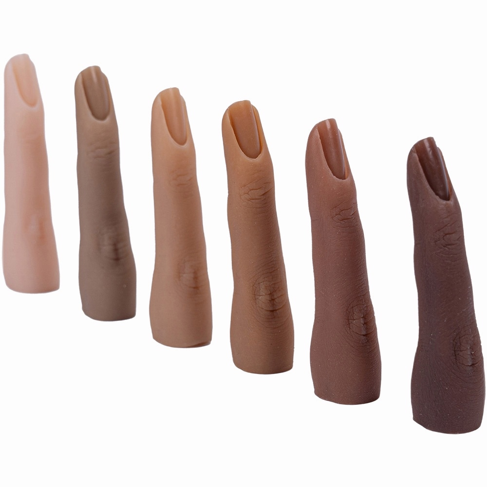 1pc Silicone Nail Art Training Hand Fake Finger Natural Nail Tips Manicure Tool Nail Practice Model Display Finger Bendable