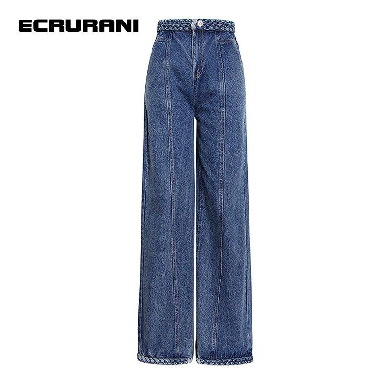 ECRURANI الأزرق عادية كامل طول بنطلون للإناث عالية الخصر الحد الأدنى المرأة الدينيم مستقيم السراويل 2021 الخريف جديد الملابس