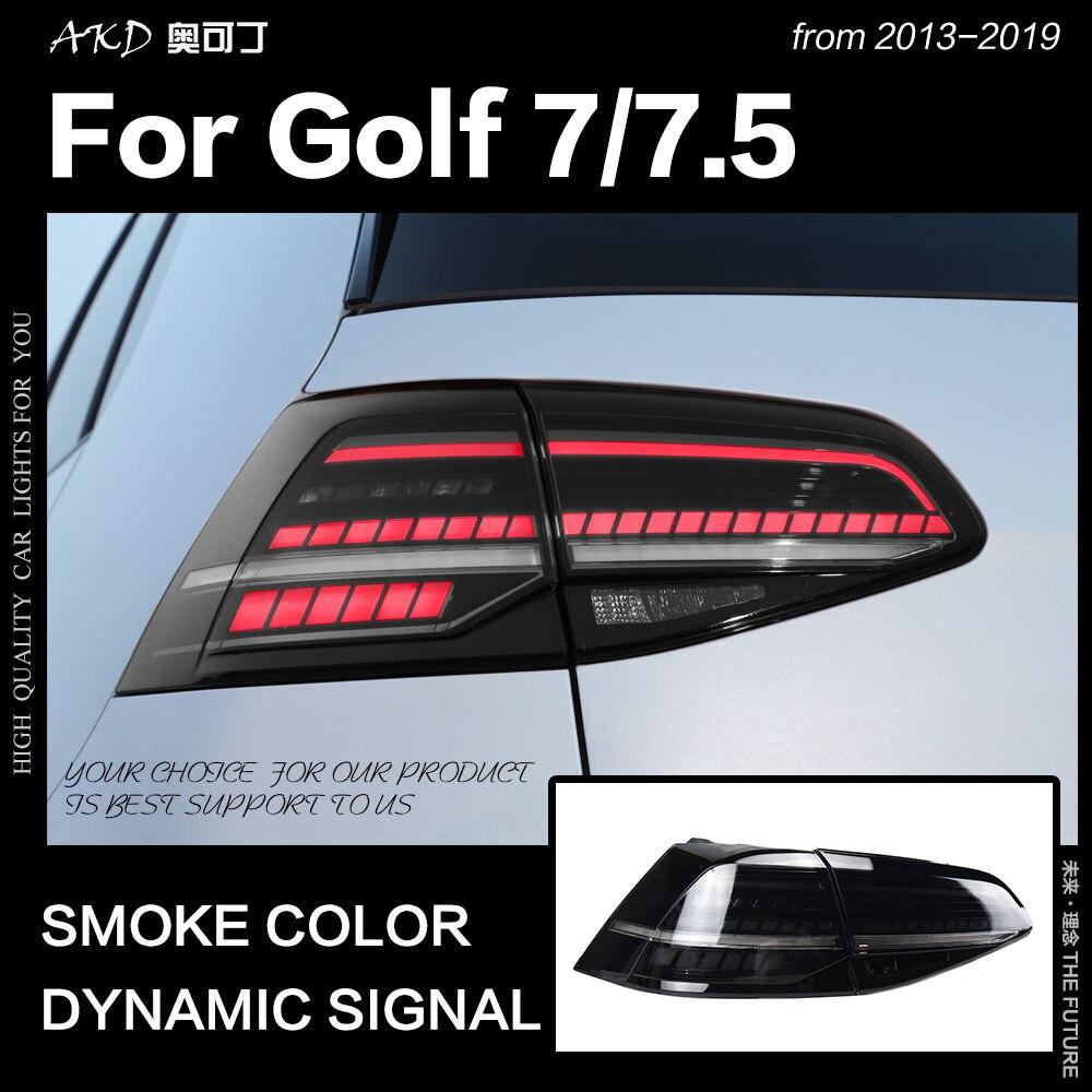 Lámpara trasera de diseño de coche para VW Golf 7 luz trasera 2013-2019 Golf 7,5 Golf7 parada trasera LED DRL humo Color reverso auto Accesorios