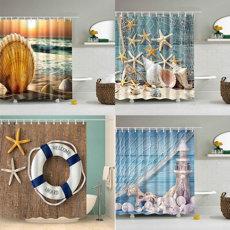 Sea Shell Shower Curtain 3D Print Bathroom Waterproof Polyester Bath Curtain Octopus Washable Bath Decor Curtains With 12 Hooks