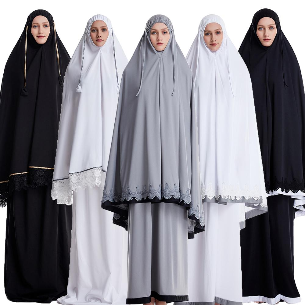 Ramadan Muslim Prayer garment Women 2 Piece Set Khimar Abaya Hijab Skirt Full Cover Islam Clothes burka niqab Worship Service