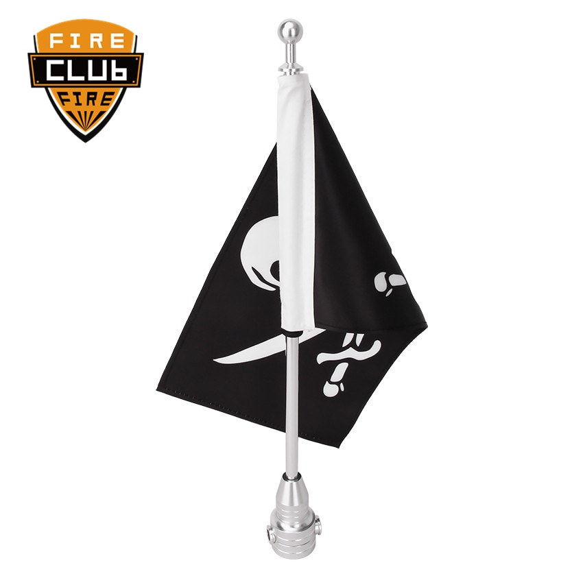 Motorcycle Silver Aluminum Rear Side Mount Flag Pole Skull National Flag For Harley Luggage Rack Moto Ornamental Accessories