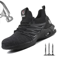 dropshipping steel toe safety shoes men lightweight anti crush working unisex breathable wear resisting sneakers both men