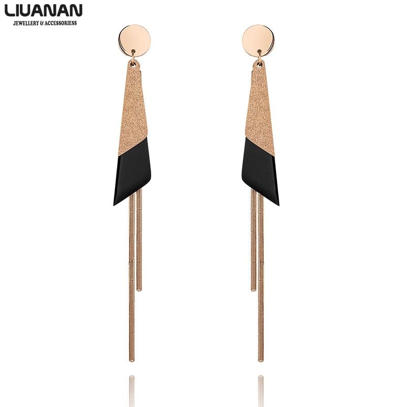 Moda coreana declaración pendientes geométricos Acero inoxidable hueco pendientes colgantes para mujeres pendientes flecos joyas