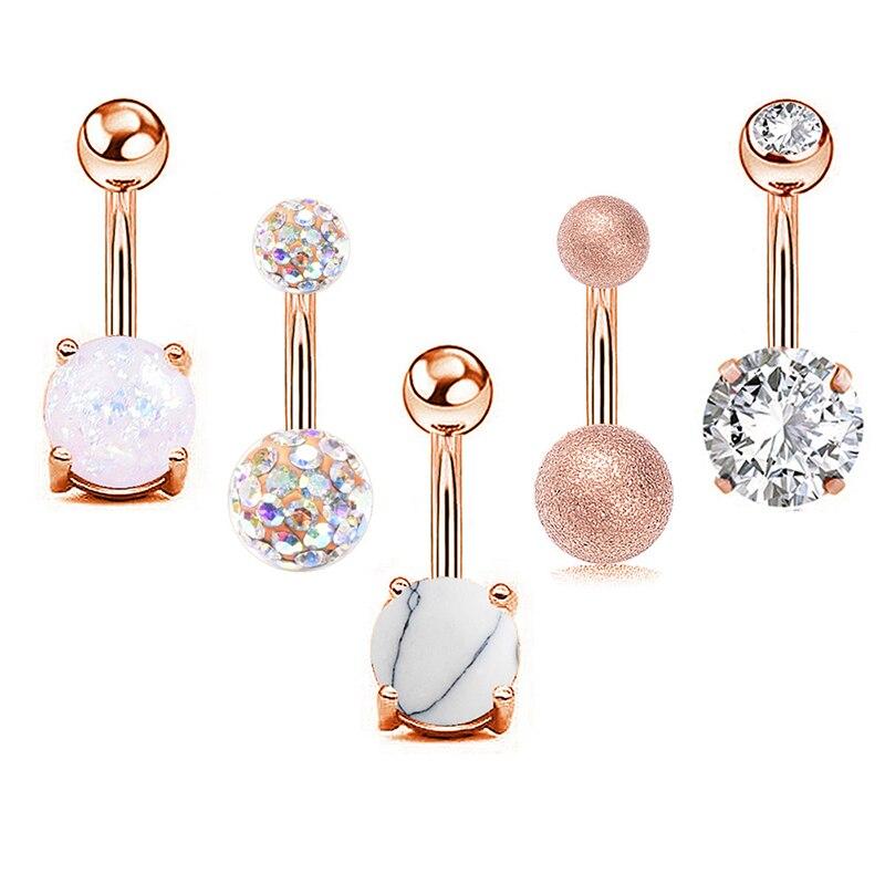 Piercing para el ombligo de acero con diamantes de imitación para mujer, piercing Sexy para el ombligo, joyería para el cuerpo, 5 unids/set por Set