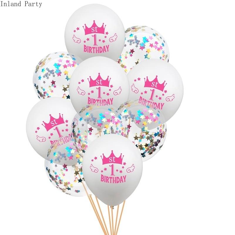 10 pçs confetti 1st aniversário balão um 1 ano de idade primeiro feliz aniversário decoração da festa de látex ballon globos chá de fraldas favor