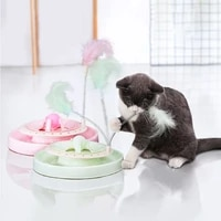 smart interactive cat toy round rotating mode toy cats funny pet game automaatic cat toy light feather toys kitty balls