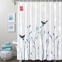 blue branches shower curtain fresh leaves waterproof bathroom shower curtain oriental ink bathroom shower curtain with hooks