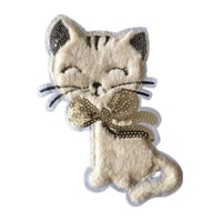 sequins patch ins cat plush animal patches for clothing sequined large biker badge strange things stickers diy clothes gifts