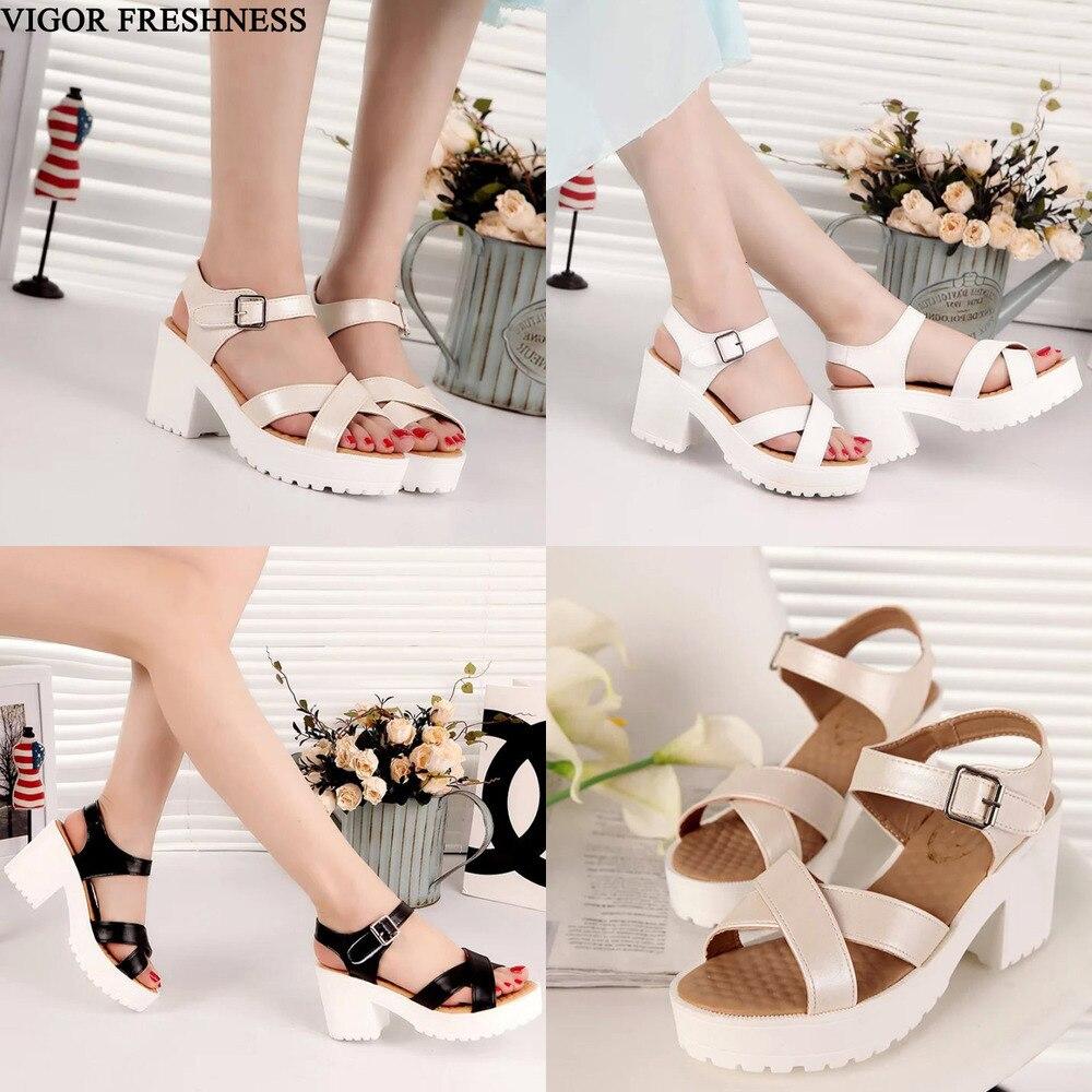 VIGOR FRESHNESS Sandals Women Shoes Woman Summer Shoes Ladies Sandals Women's Sandals Platform Shoes 6CM Heels Sizes 45 46 WY594