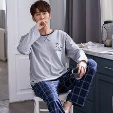 Men Pajamas Set Polyester Sleepwear Long Sleeved Autumn Nightwear Lounge Sleep Clothing Plus Size Si