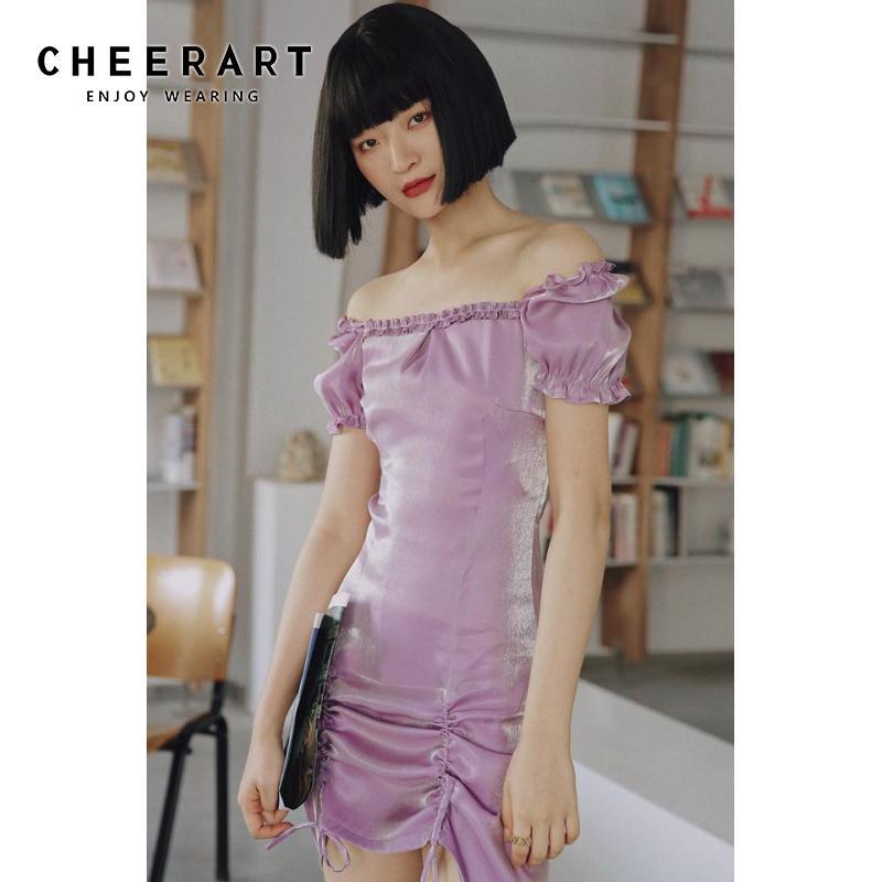 CHEERART Polarized Purple Bodycon Dress Square Collar Puff Sleeve Summer Mini Dress Women Drawstring Tight Dress Fashion 2020