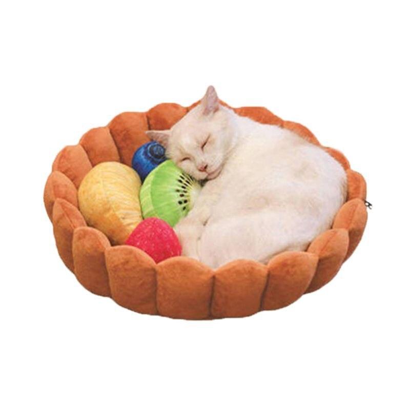 En forma de pastel, cama para mascotas, decoración divertida, almohadilla para dormir lavable para gatos/Cueva, Mejor Algodón, cama para gatos domésticos, alfombra para dormir caliente para mascotas, casa para gatos