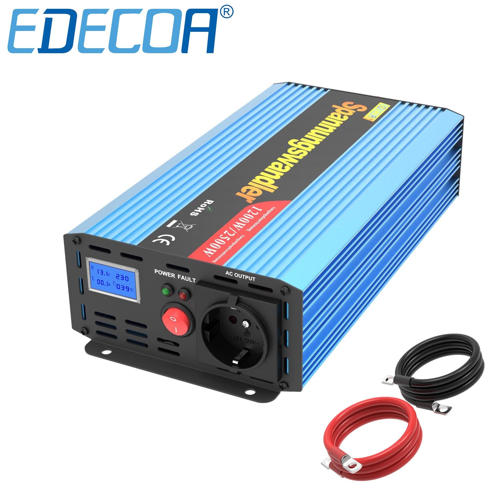 EDECOA 1200 واط 1000 واط سيارة محول تيار مستمر 12 فولت 24 فولت التيار المتناوب 220 فولت 230 فولت 240 فولت تعديل شرط موجة امدادات الطاقة العاكس