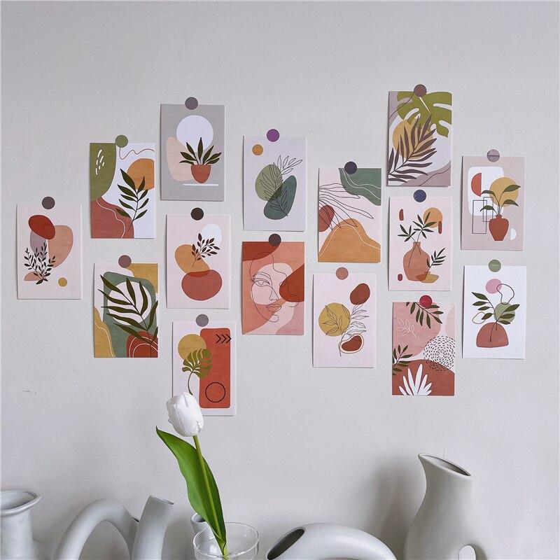 Винтажные открытки в абстрактном стиле с изображением зеленых растений, открытки для комнаты, фоновая раскладка, плакат, настенная наклейк...