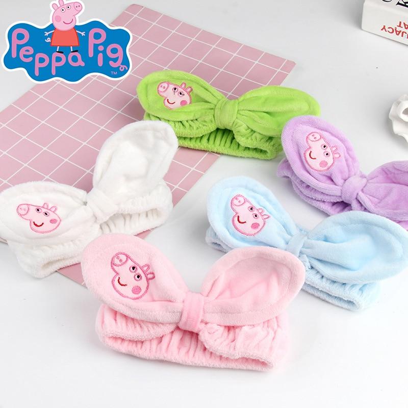 Peppa Pig, diadema para mujer, bonita pajarita de dibujos animados, banda para el cabello para niña, diadema de maquillaje, Coral blando, vellón, lavado de cara, accesorios para el pelo turbante