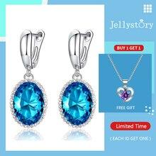 Jellystory Neue Silber 925 Schmuck Frauen Ohrringe mit Oval Förmigen Saphir Edelstein Tropfen Ohrring Hochzeit Partei Geschenke Blau Lila