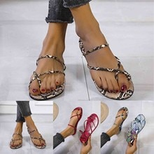 Plus Size Summer Brand Top 2021 Fashion Designer Bohemia Beach Sandals Snake Print Sandals All Over