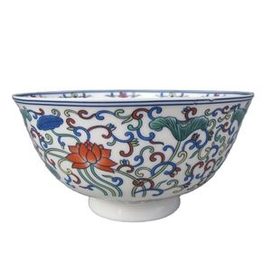 China Old Colorful Porcelain Hand Painted Lotus Bowl Qing Dynasty Qianlong Mark