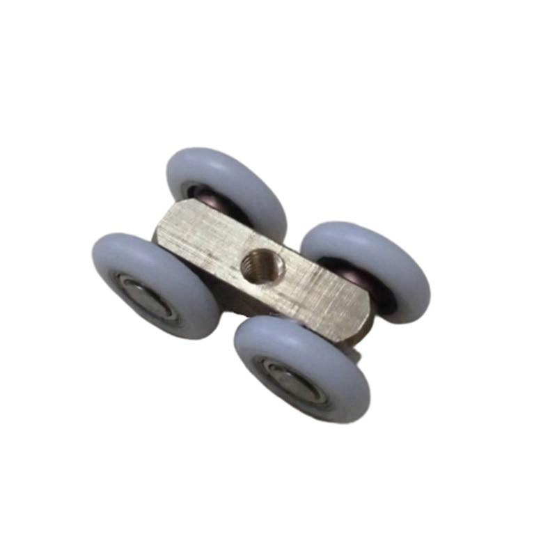 2 uds 21mm OD puerta corredera 4 ruedas Roller Home baño ropero puerta de madera colgante de cobre ruedas para muebles Hardware rueda