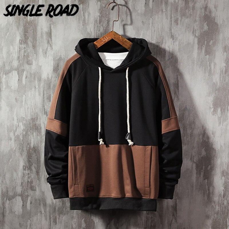 Singleroad hoodies masculinos 2020 harajuku de grandes dimensões japonês streetwear moletom hip hop retalhos moletom com capuz masculino