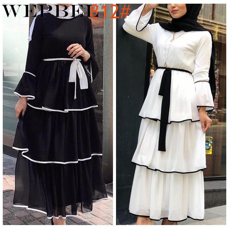 Wepbel mulheres árabe muçulmano abaya vestido babados moda manga completa casual novas senhoras islâmica longo maxi vestidos