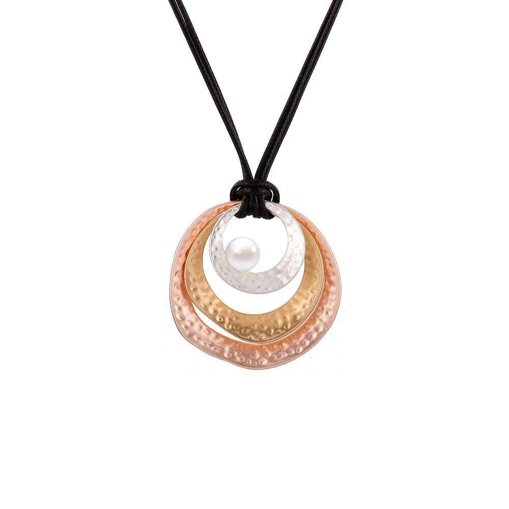 Mezcla de Color, redondo colgante collar de accesorios de joyería para las mujeres étnicas Cadena de cuero negro suéter largo collar cadena 2020