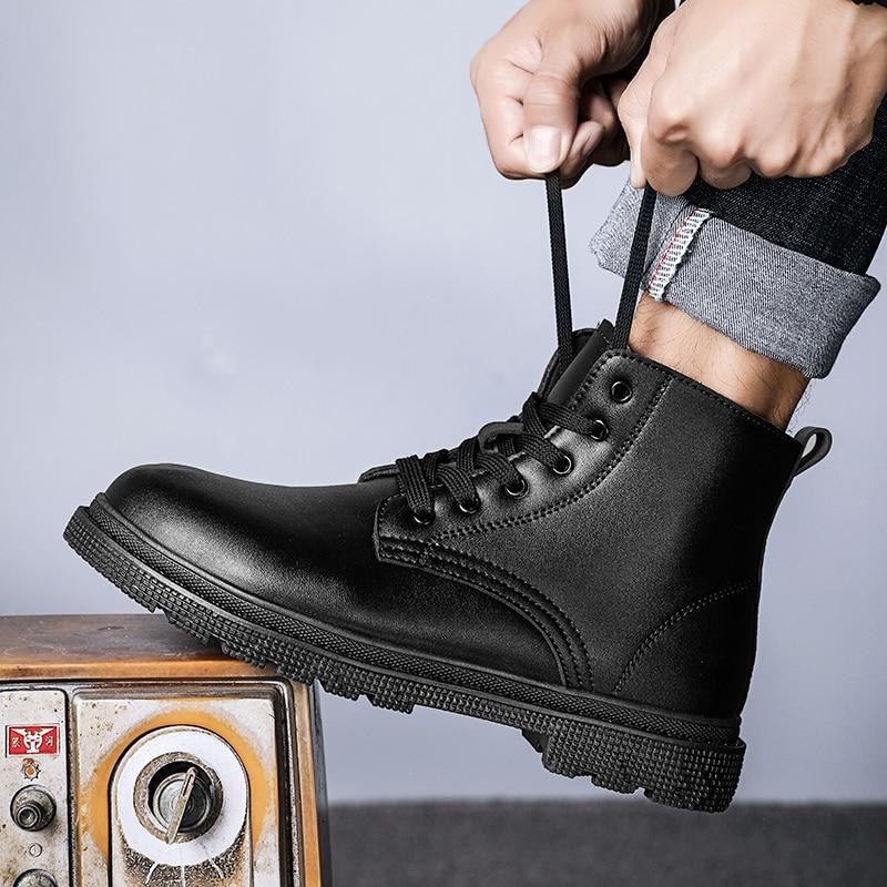 Black Boots for Men Male Ankle Boots for Motorcycle Dr Martens Men's Boots Biker Boots Men Designer Boots Chopper Boots Fashion