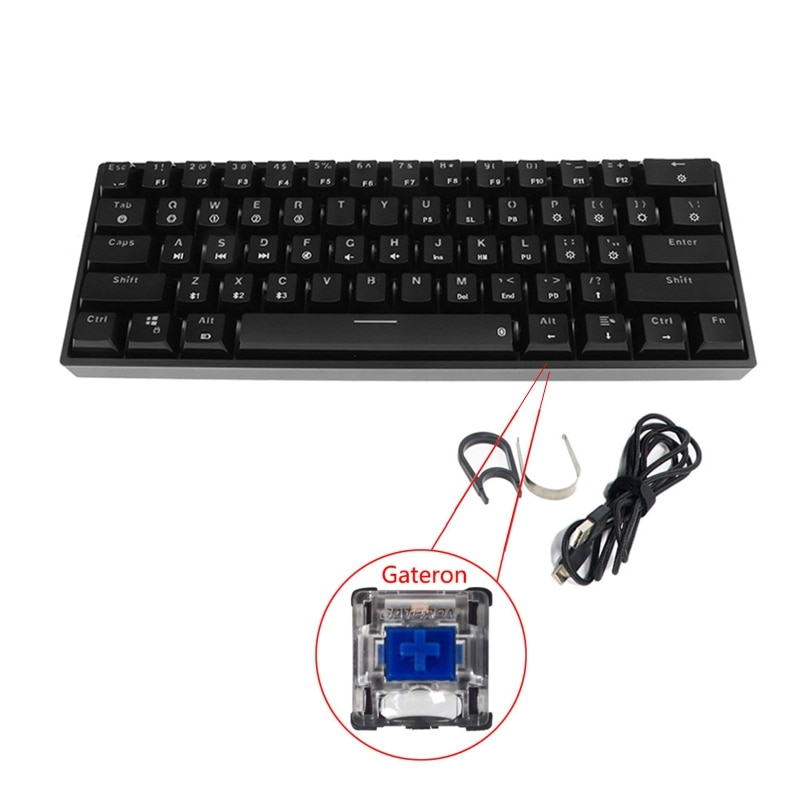 Mecânico sem Fio Backlit do Modo Duplo de Bluetooth Chaves de Gateron Teclado 5.0 Rgb 61 32cb