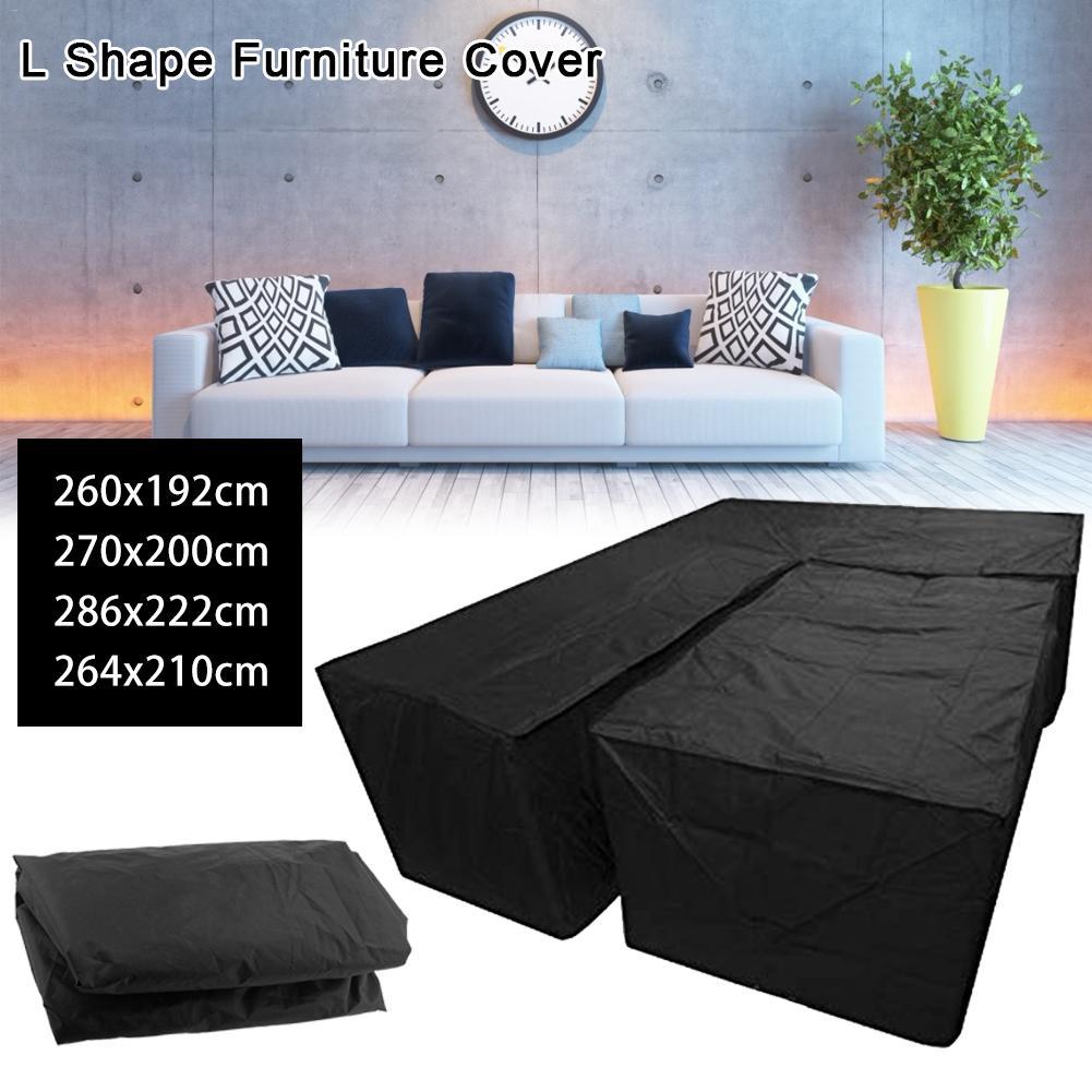 Impermeable L forma esquina exterior sofá cubierta Patio jardín Muebles cubierta protectora derecha en forma de R muebles de esquina cubierta de polvo