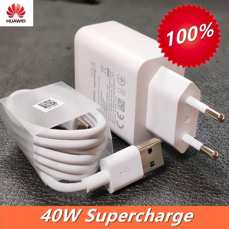 Huawei P40 Pro cargador rápido Original 10V /4A toma de corriente de pared sobrecargar adaptador Usb 5A tipo C Cable para P30 P40 Pro + amigo 20 30 Pro