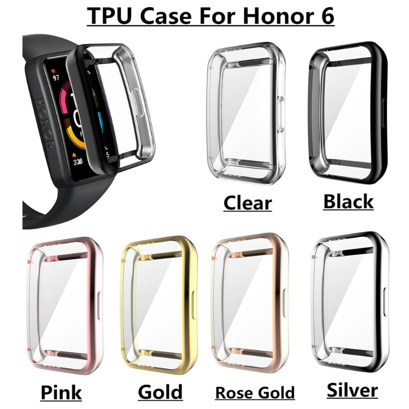 For -Huawei Honor Band 6 watch Case Soft Tpu Case Full Cover Watch Fit Shockproof Case Honor Watch 6 Plating Shell tpu soft silicone soft full screen glass protector case shell frame for huawei honor es watch fitting plating protective cover