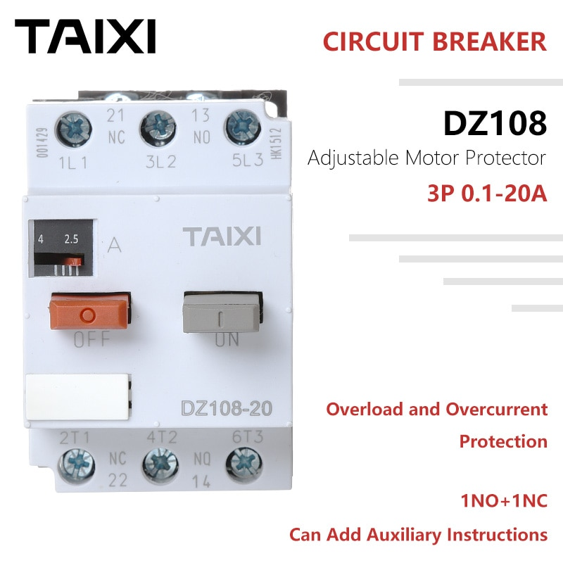 Interruptor protector de circuito de Motor 3VE1 20A ajustable D Curve 0,1-1,6 2,5-4 10-16A Mini MCCB