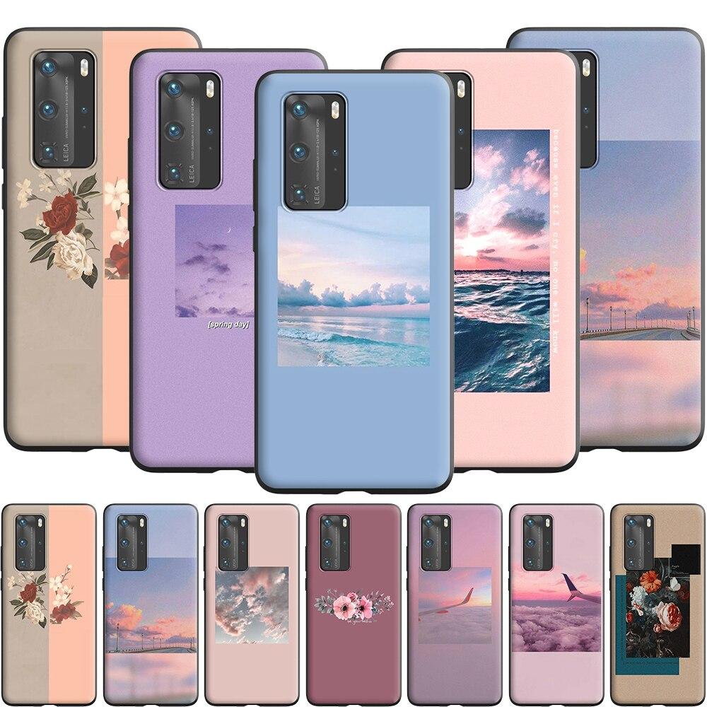 Funda de silicona estética cielo nubes flores para Huawei Nova 6 7 SE 2 2i 3 3i 4 4E 5 5i 5T Lite Pro Smart