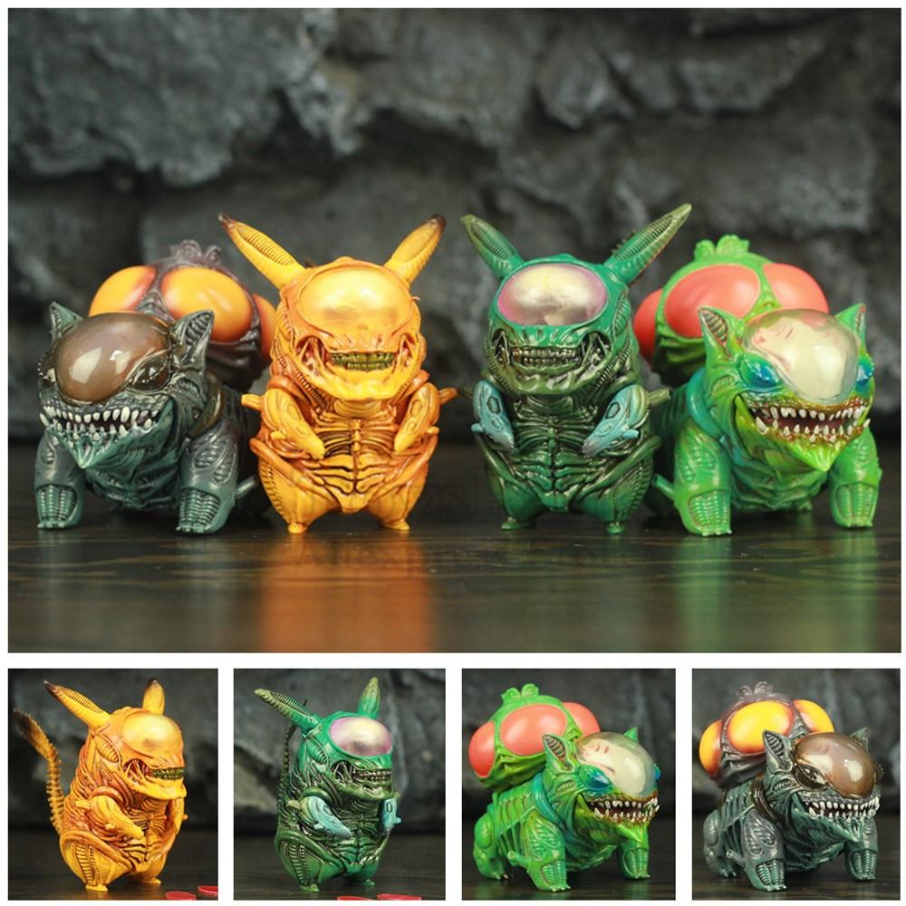 Круто! Alien Pika Bulbasaur 8,5 см ПВХ смешные фигурки PKM Mix Xenomorph Warrior Aliens VS Predator AVP Cute Q GAME FREAK Doll Toys
