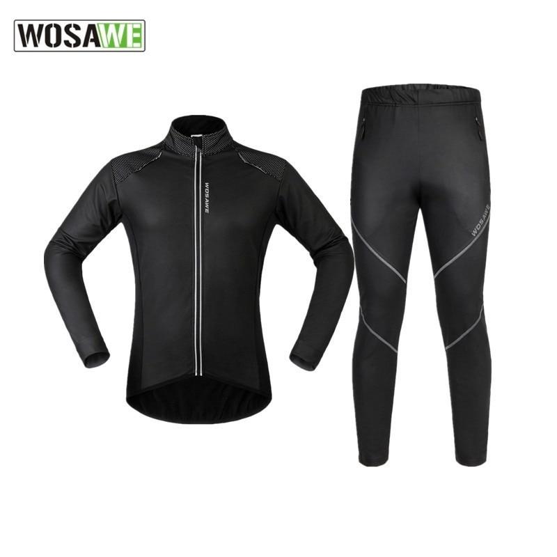 WOSAWE, chaqueta de Ciclismo de Invierno para hombre, conjunto de cuero PU a prueba de viento, forro polar térmico cálido, chaqueta de bicicleta de montaña, ropa de ciclismo de montaña