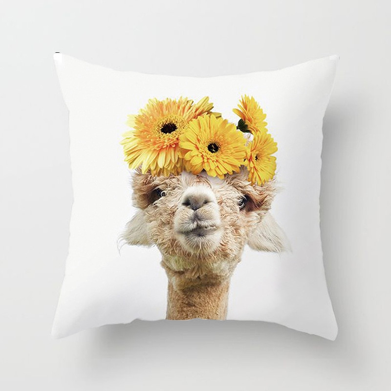 Funda de almohada de animales bonitos para bebés, funda de almohada para decoración del hogar, cojín de poliéster para sofá o coche, cojín pequeño zorro Llama, Fundas de cojín 45x45cm