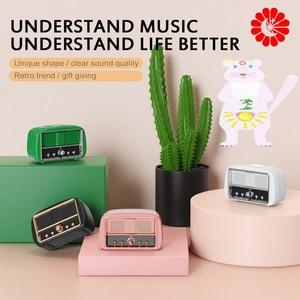 RETRO pink cute TV MINI TV Bluetooth Speaker Subwoofer Wireless Bluetooth Small Stereo Speaker Built-in Mic Calls Speaker