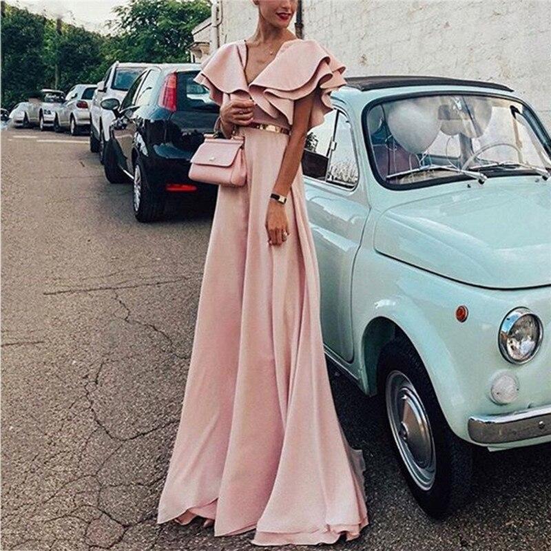 Plus Size 2020 Women Summer Bohemian Beach Dress Ruffles Sleeve Sexy Party Night Elegant Maxi Pink Dress Vestidos Robe New