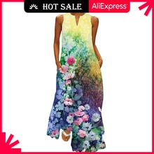 MOVOKAKA Colorful Sexy Lip Printed Dress 2021 Casual Plus Size Sleeveless Long Dresses Summer Woman