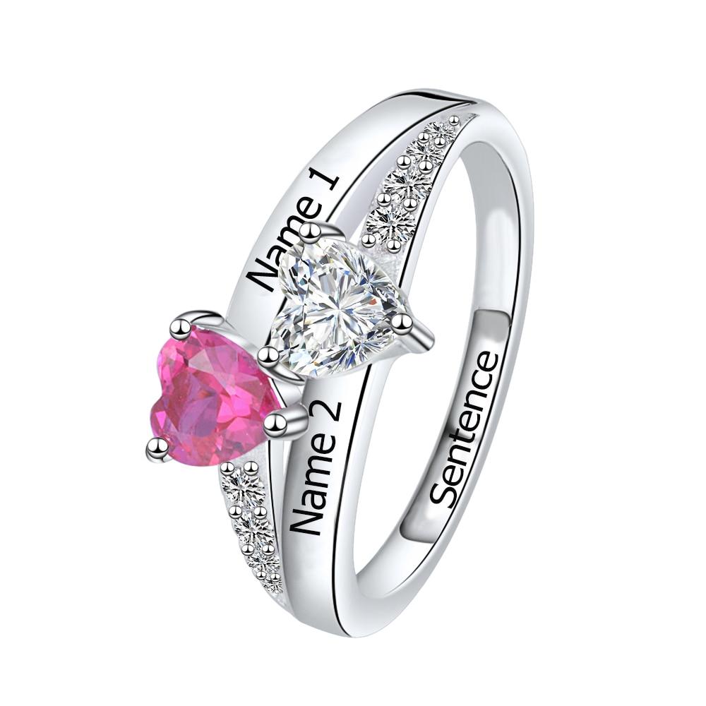 Anillo de piedra de nacimiento de corazón personalizado 925 anillos de plata esterlina SG con 2 nombres de joyas para regalo de su día de la Madre