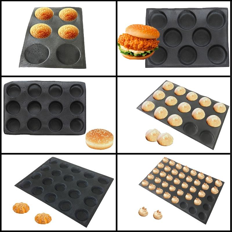 Meibum Round Bread Cookie Pizza Baking Mold Puff Hamburger Black Porous Glass Fiber Silicone Mould Cake Tart Non Stick Pan