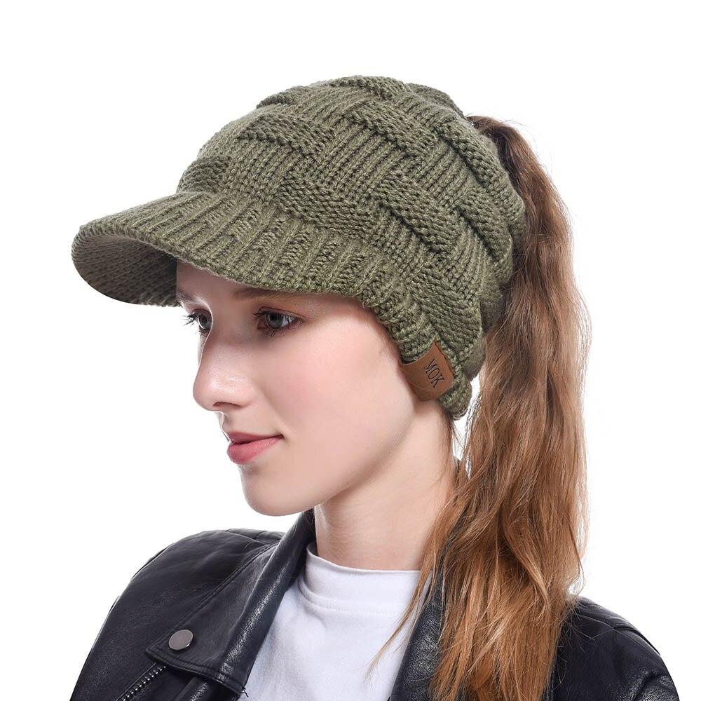 Gorra para el invierno para coleta mujer gorro de punto suave gorro de lana para mujer cálido señoras desordenado gorro de invierno gorra WH209D