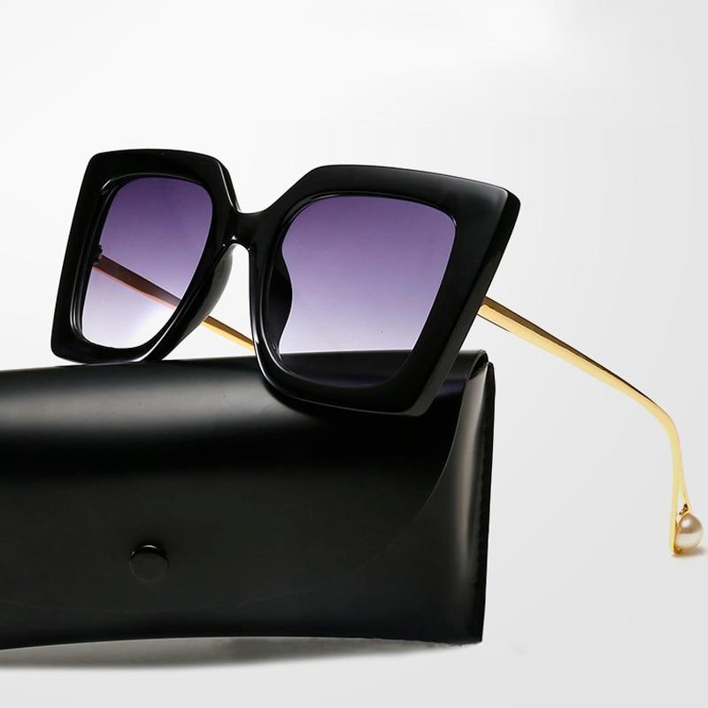 New European and American Trend Sunglasses Street Style Fashion Sunglasses Square Pearl Womens Sunglasses UV400
