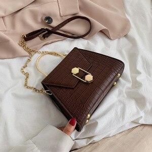Crocodile Pattern Clutch Bag Women Tote Chain Shoulder Bag Cool Designer Handbag Purse for Girl