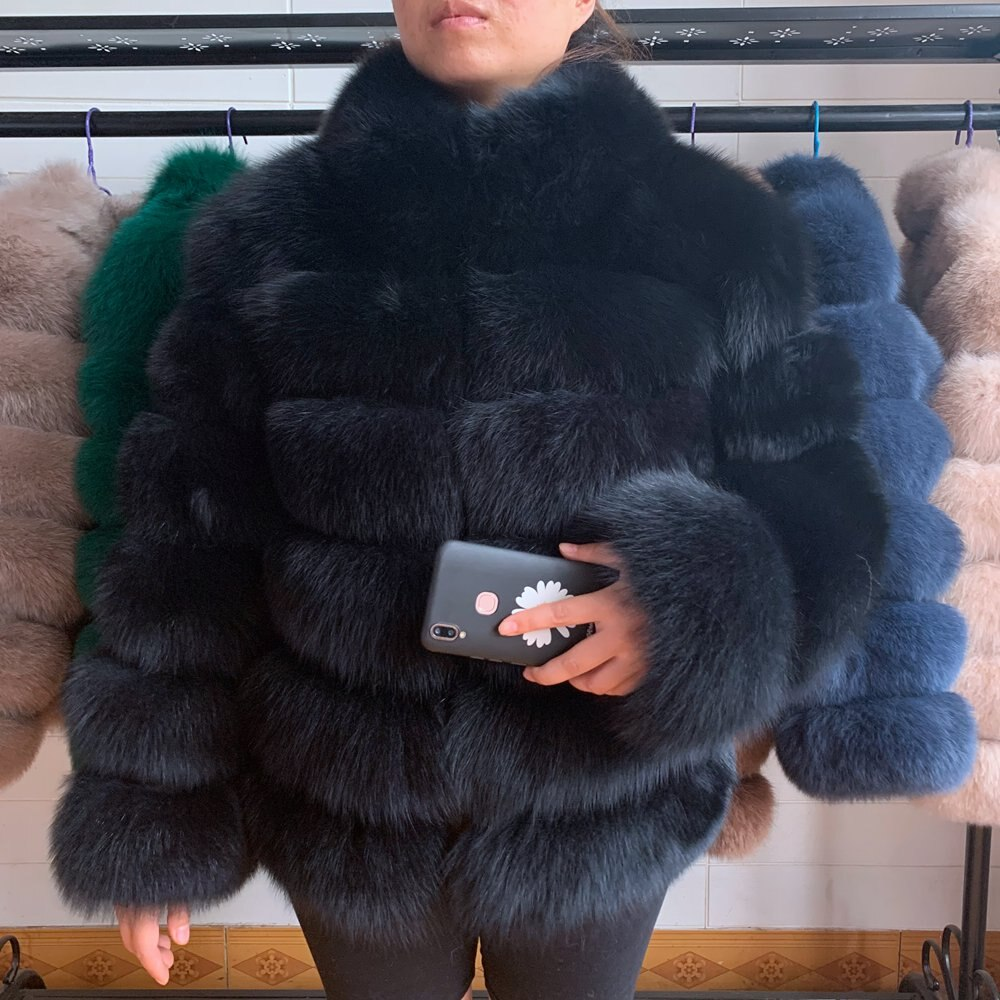 NEW natural fox fur coat with stand collar winter warm fox fur coat sleeves detachable ladies winter fur coat fox fur vest good