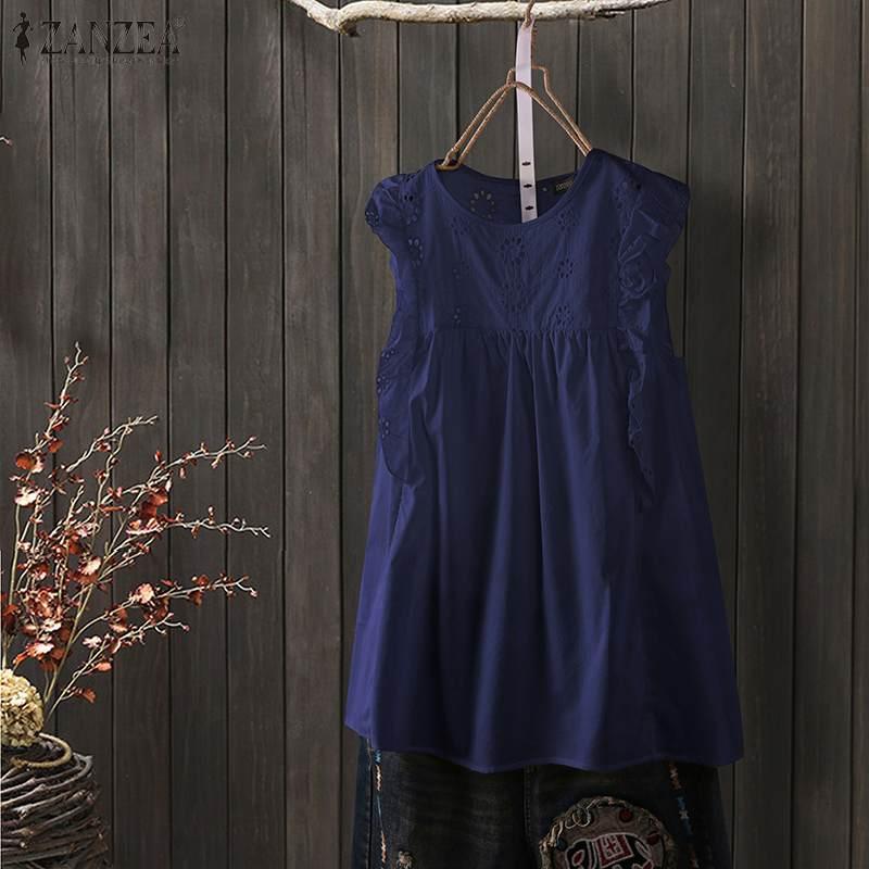 ZANZEA-Camiseta sin mangas para mujer, blusa informal sin mangas, cuello redondo, con agujeros, volantes, Camisa lisa, Túnica de talla grande