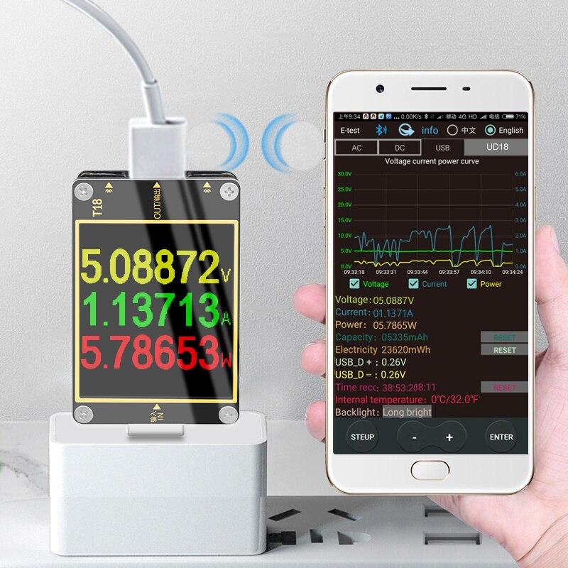 "DANIU 18 in 1 USB Tester Strom Voltmeter Meter HD Farbe TFT 1,8 ""PD3.0 Schnelle Lade Protokoll Kapazität Test computer Online"