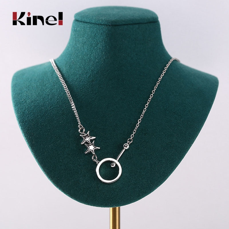Kine Authentic 925 Sterling Silver Star Round Pendant Necklace for Women Vintage Silver Necklaces Korea Jewelry wings dragon pendant necklace vintage antique silver pterosaur handmade necklaces fashion jewelry for women holiday gift