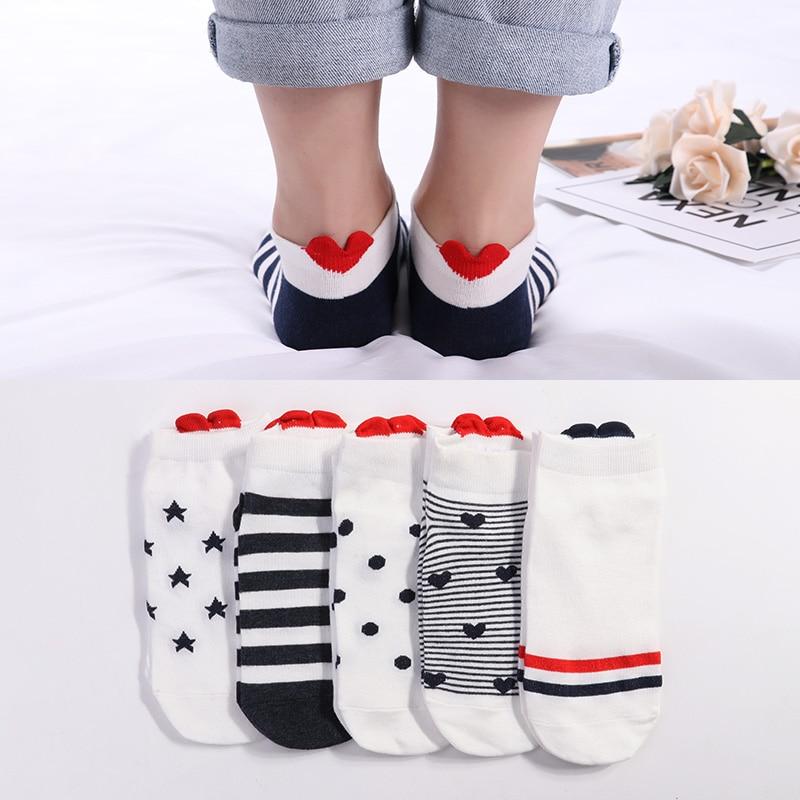 5 Pairs Lot Cotton Women Socks Female Casual Boat 3D Pack Cartoon Harajuku Cat Cute Heart Invisiable Funny Girl Ankle Sock Set